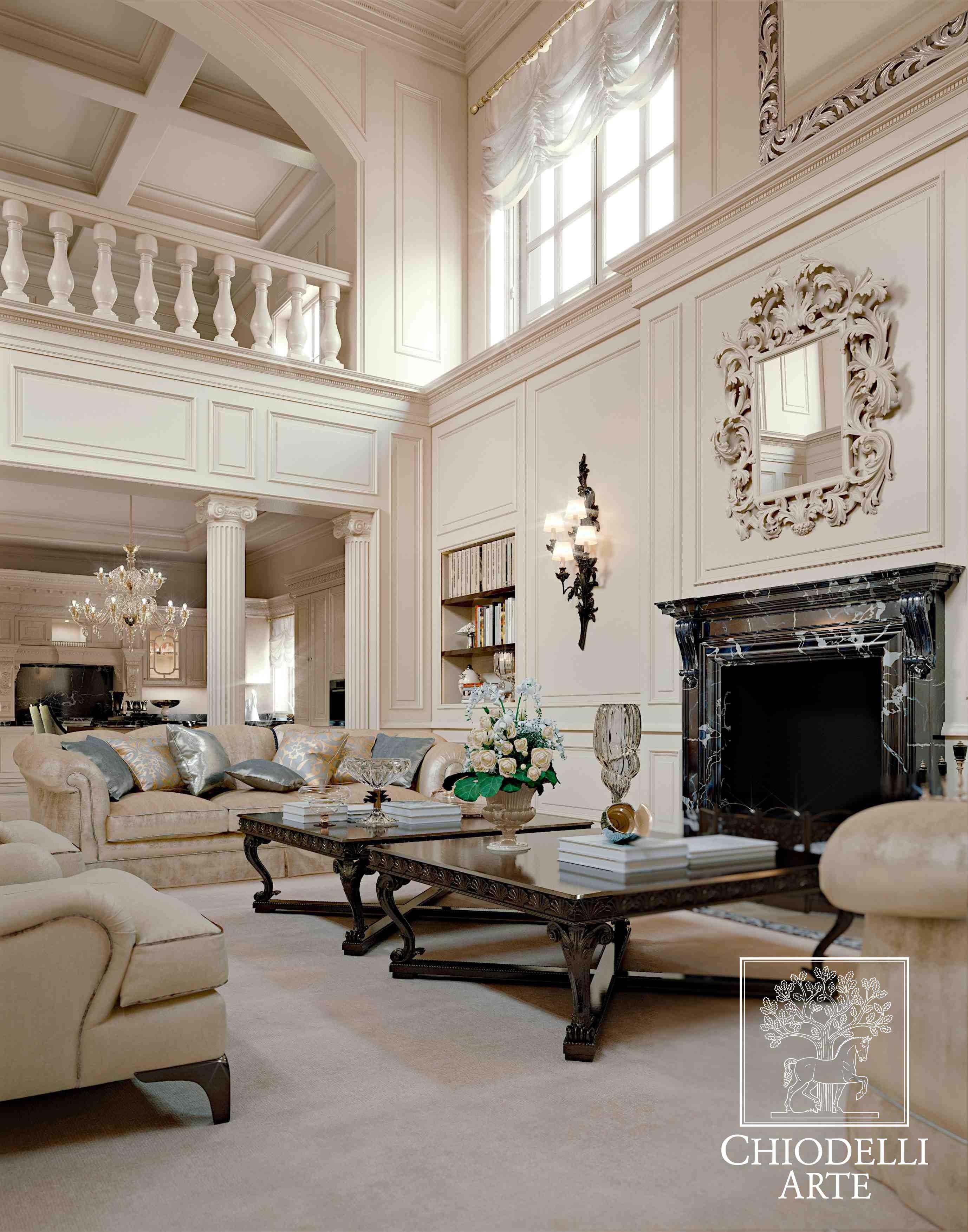 Un salotto bianco, in stile classico - Interior Design