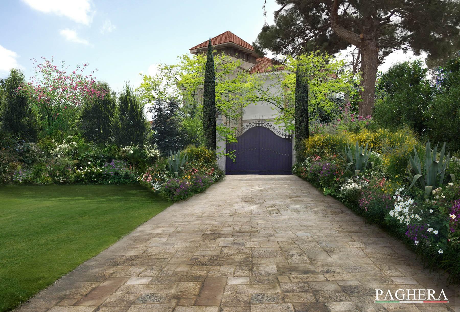 Progettazione del giardino per villa classica paghera for Progettazione giardini siena