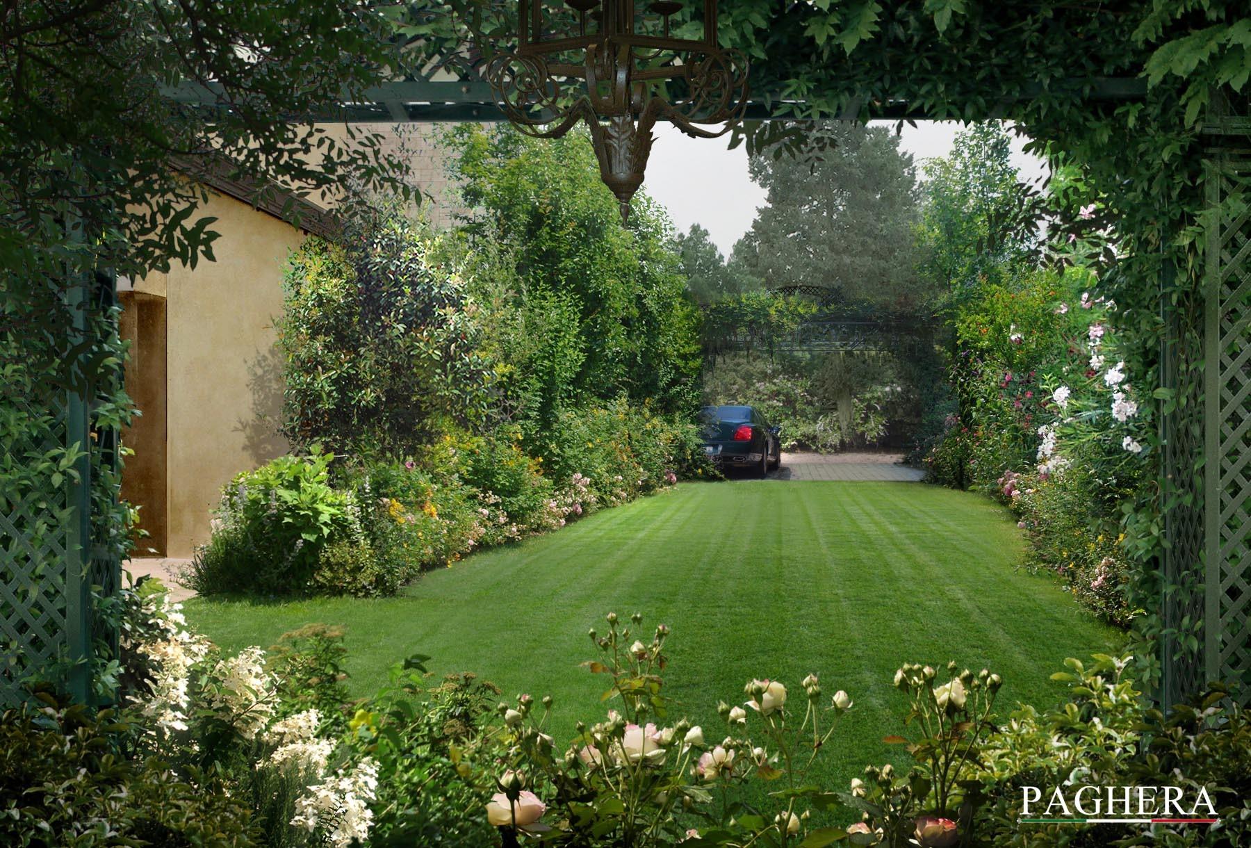 Progettazione del giardino per villa classica paghera for Paghera giardini